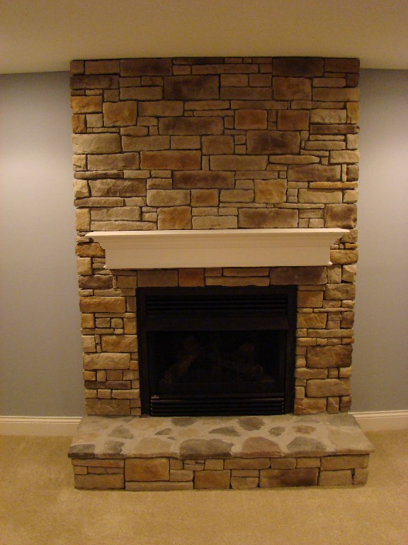 Stone Fireplace by the Finished Basement