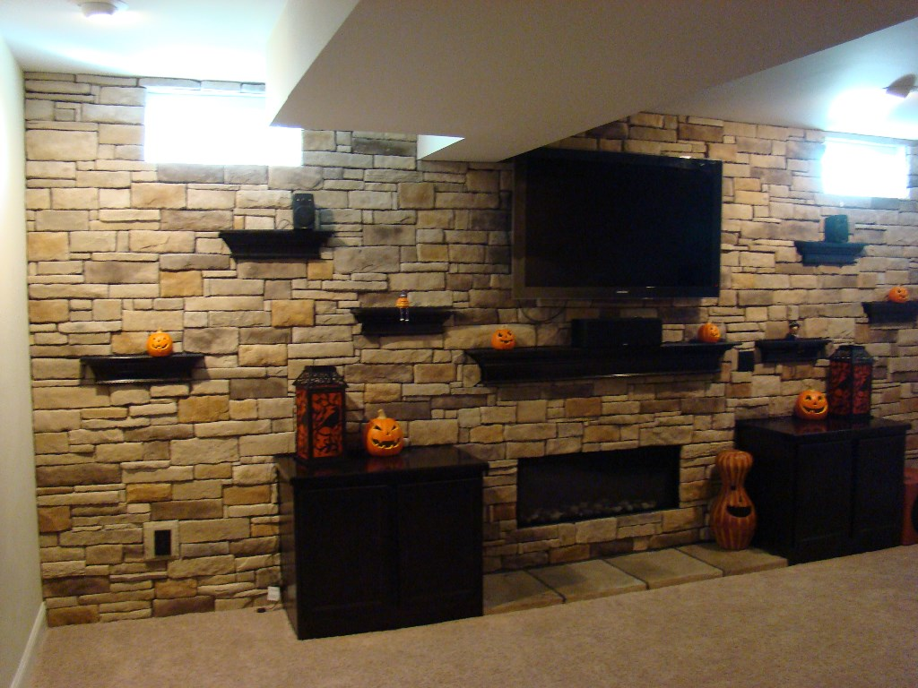 Custom stone work by the Finished Basement