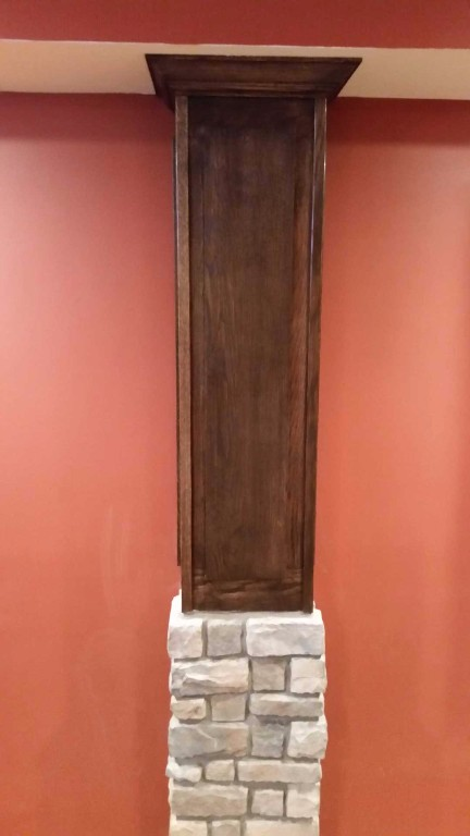 Custom wood and stone  basement column