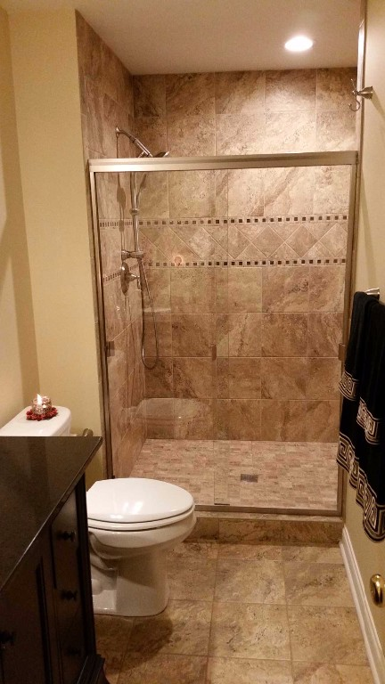 Custom finished basement bathroom